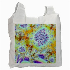 Golden Violet Sea Shells, Abstract Ocean White Reusable Bag (two Sides)