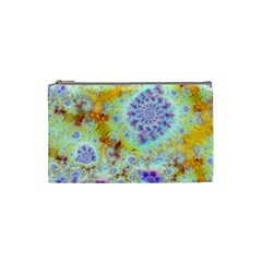 Golden Violet Sea Shells, Abstract Ocean Cosmetic Bag (Small)