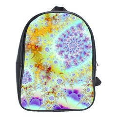 Golden Violet Sea Shells, Abstract Ocean School Bag (XL)