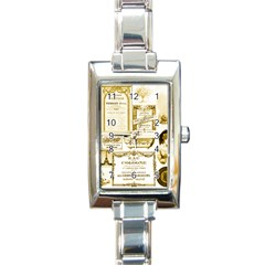 Parisgoldentower Rectangular Italian Charm Watch