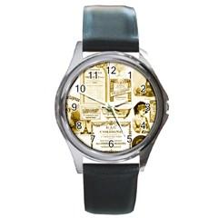 Parisgoldentower Round Leather Watch (silver Rim)