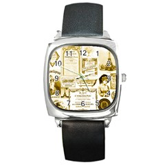 Parisgoldentower Square Leather Watch