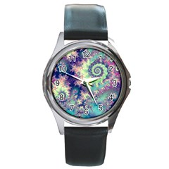 Violet Teal Sea Shells, Abstract Underwater Forest Round Metal Watch