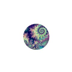 Violet Teal Sea Shells, Abstract Underwater Forest 1  Mini Button