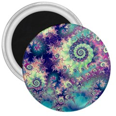 Violet Teal Sea Shells, Abstract Underwater Forest 3  Magnet