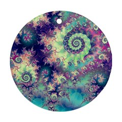 Violet Teal Sea Shells, Abstract Underwater Forest Ornament (Round)