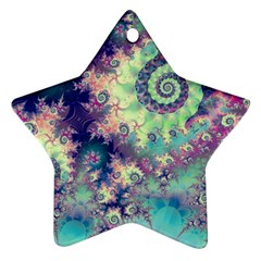 Violet Teal Sea Shells, Abstract Underwater Forest Ornament (Star)