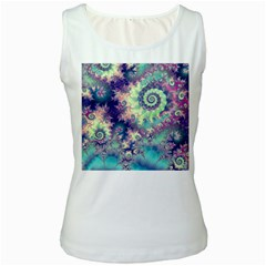 Violet Teal Sea Shells, Abstract Underwater Forest Women s Tank Top