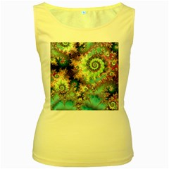 Violet Teal Sea Shells, Abstract Underwater Forest Women s Yellow Tank Top