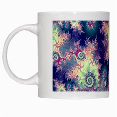 Violet Teal Sea Shells, Abstract Underwater Forest White Mug