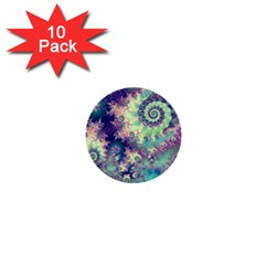Violet Teal Sea Shells, Abstract Underwater Forest 1  Mini Button (10 Pack)