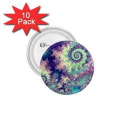 Violet Teal Sea Shells, Abstract Underwater Forest 1.75  Button (10 pack)