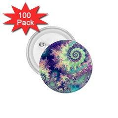 Violet Teal Sea Shells, Abstract Underwater Forest 1.75  Button (100 pack)