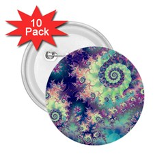Violet Teal Sea Shells, Abstract Underwater Forest 2.25  Button (10 pack)