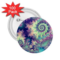 Violet Teal Sea Shells, Abstract Underwater Forest 2 25  Button (100 Pack)
