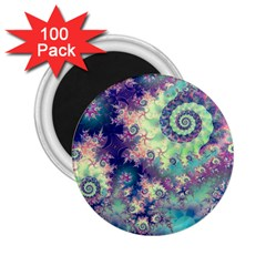Violet Teal Sea Shells, Abstract Underwater Forest 2.25  Magnet (100 pack)