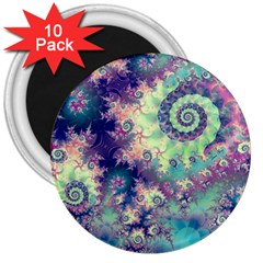 Violet Teal Sea Shells, Abstract Underwater Forest 3  Magnet (10 pack)