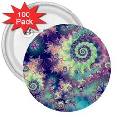 Violet Teal Sea Shells, Abstract Underwater Forest 3  Button (100 pack)