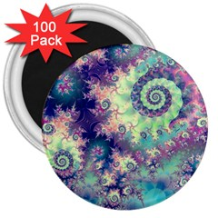 Violet Teal Sea Shells, Abstract Underwater Forest 3  Magnet (100 pack)