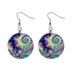Violet Teal Sea Shells, Abstract Underwater Forest 1  Button Earrings