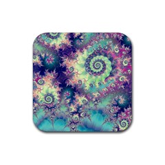 Violet Teal Sea Shells, Abstract Underwater Forest Rubber Square Coaster (4 pack)