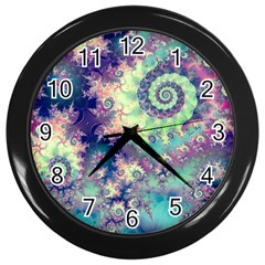 Violet Teal Sea Shells, Abstract Underwater Forest Wall Clock (Black)