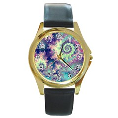 Violet Teal Sea Shells, Abstract Underwater Forest Round Gold Metal Watch