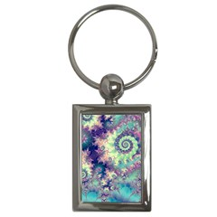 Violet Teal Sea Shells, Abstract Underwater Forest Key Chain (Rectangle)