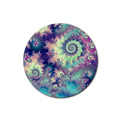 Violet Teal Sea Shells, Abstract Underwater Forest Rubber Coaster (Round)