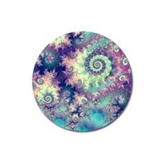 Violet Teal Sea Shells, Abstract Underwater Forest Magnet 3  (Round)