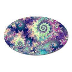 Violet Teal Sea Shells, Abstract Underwater Forest Magnet (Oval)