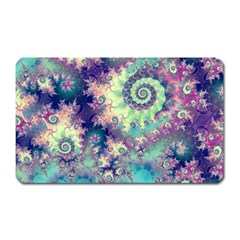 Violet Teal Sea Shells, Abstract Underwater Forest Magnet (rectangular)
