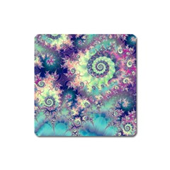 Violet Teal Sea Shells, Abstract Underwater Forest Magnet (Square)