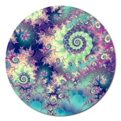 Violet Teal Sea Shells, Abstract Underwater Forest Magnet 5  (round)