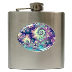 Violet Teal Sea Shells, Abstract Underwater Forest Hip Flask (6 oz)