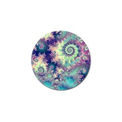 Violet Teal Sea Shells, Abstract Underwater Forest Golf Ball Marker (4 pack)