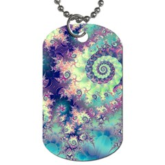 Violet Teal Sea Shells, Abstract Underwater Forest Dog Tag (Two Sides)