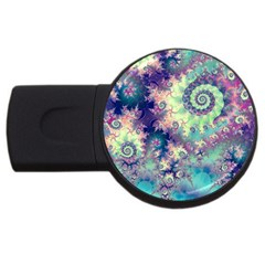 Violet Teal Sea Shells, Abstract Underwater Forest Usb Flash Drive Round (2 Gb)