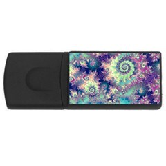 Violet Teal Sea Shells, Abstract Underwater Forest USB Flash Drive Rectangular (1 GB)