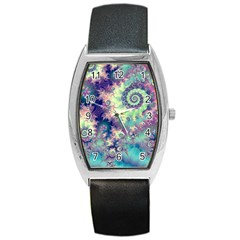 Violet Teal Sea Shells, Abstract Underwater Forest Barrel Style Metal Watch
