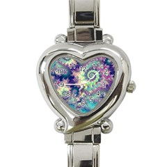 Violet Teal Sea Shells, Abstract Underwater Forest Heart Italian Charm Watch