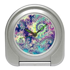 Violet Teal Sea Shells, Abstract Underwater Forest Travel Alarm Clock