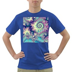 Violet Teal Sea Shells, Abstract Underwater Forest Dark T-Shirt