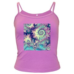 Violet Teal Sea Shells, Abstract Underwater Forest Dark Spaghetti Tank
