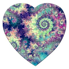 Violet Teal Sea Shells, Abstract Underwater Forest Jigsaw Puzzle (Heart)