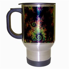 Violet Teal Sea Shells, Abstract Underwater Forest Travel Mug (Silver Gray)