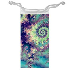 Violet Teal Sea Shells, Abstract Underwater Forest Jewelry Bag