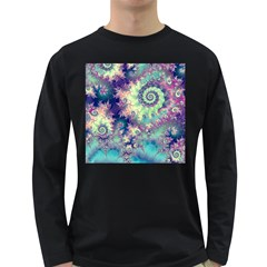 Violet Teal Sea Shells, Abstract Underwater Forest Long Sleeve Dark T-Shirt