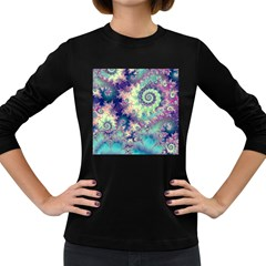 Violet Teal Sea Shells, Abstract Underwater Forest Women s Long Sleeve Dark T-Shirt