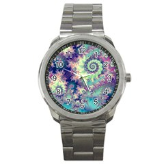 Violet Teal Sea Shells, Abstract Underwater Forest Sport Metal Watch